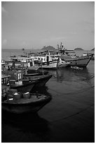 Fishing boats at dusk, Con Son. Con Dao Islands, Vietnam ( black and white)