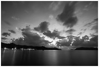 Con Son lights and tropical clouds at dawn. Con Dao Islands, Vietnam ( black and white)