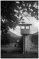 Prison wall and tower, Con Son. Con Dao Islands, Vietnam ( black and white)