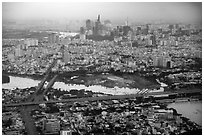 Aerial view of Saigon River and downtown. Ho Chi Minh City, Vietnam ( black and white)