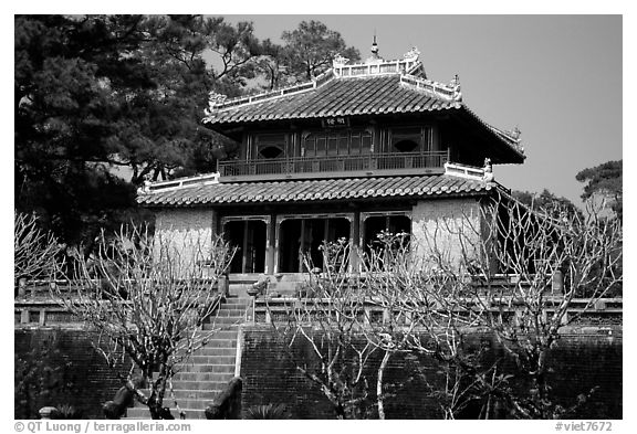 Pavilion inside the Minh Mang Mausoleum. Hue, Vietnam (black and white)