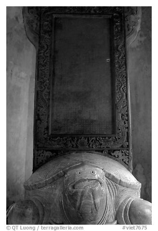 Stone tablet on the back of a tortoise, Thien Mu Pagoda. Hue, Vietnam (black and white)