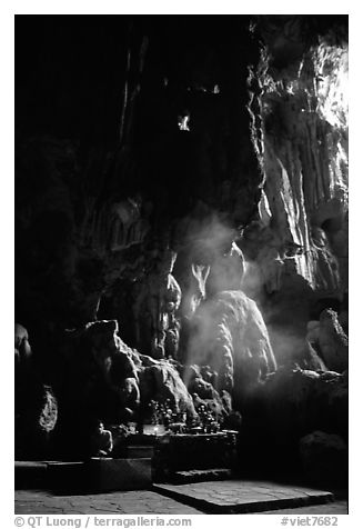 Altar in Tam Thanh Cave. Lang Son, Northest Vietnam (black and white)