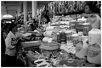 Dong Kinh Market, with its goods imported from nearby China. Lang Son, Northest Vietnam (black and white)