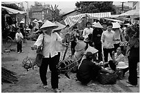 Woman carrying two live pigs, That Khe market. Northest Vietnam ( black and white)