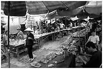 Meat for sale, That Khe market. Northest Vietnam (black and white)