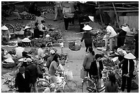 Vegetable section of the Ky Lua Market,  Cao Bang. Northeast Vietnam ( black and white)