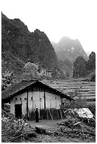 Rural home, terraced cultures, and karstic peaks, Ma Phuoc Pass area. Northeast Vietnam (black and white)