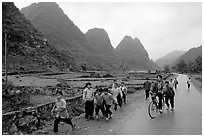 Children returning from school, Ma Phuoc Pass area. Northeast Vietnam ( black and white)