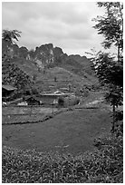 Cultures, homes, and peaks, Ma Phuoc Pass area. Northeast Vietnam ( black and white)