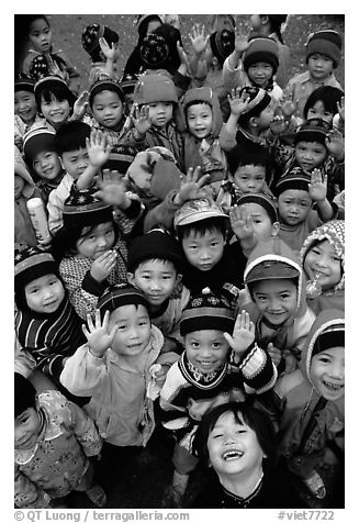 Schoolchildren dressed for the cool mountain weather. Northeast Vietnam (black and white)
