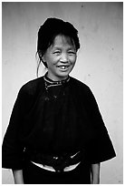 Woman of the Nung hill tribe in traditional dress. Northeast Vietnam (black and white)