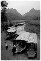 Boats waiting for villagers at a market. Northeast Vietnam ( black and white)