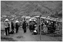 Market set in the fields near Ba Be Lake. Northeast Vietnam (black and white)