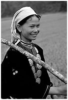 Hilltribeswoman with traditional necklace, Ba Be Lake. Vietnam (black and white)