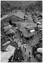View of the market, Cho Ra. Northeast Vietnam (black and white)