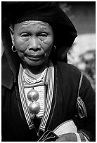 Elderly tribewoman, near Mai Chau. Vietnam (black and white)