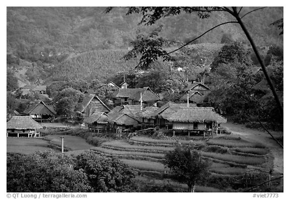 Thai village of stilt houses, near Mai Chau. Northwest Vietnam (black and white)