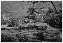 Thai village of stilt houses, near Mai Chau. Northwest Vietnam ( black and white)