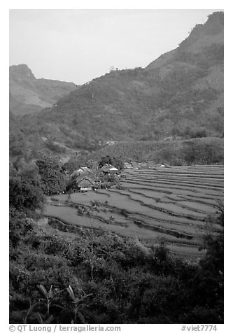 Minority village and rice terraces, near Mai Chau. Northwest Vietnam (black and white)