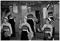 Thai women performing a dance, Ban Lac, Mai Chau. Northwest Vietnam ( black and white)