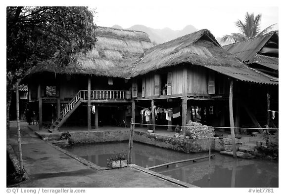 Stilt houses with thatched roofs of Ban Lac village. Northwest Vietnam (black and white)