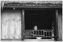 Old woman at her window, Ban Lac. Northwest Vietnam ( black and white)