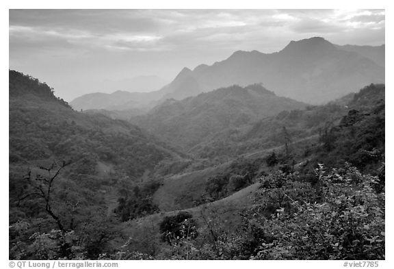 Black and white picture photo lush mountain scenery between moc chau and yeu chau northwest vietnam