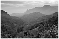 Lush mountain scenery between Moc Chau and Yeu Chau. Northwest Vietnam ( black and white)