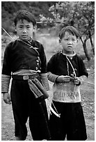 Two Hmong boys, Xa Linh. Northwest Vietnam (black and white)