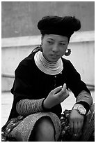Hmong woman, near Yen Chau. Northwest Vietnam (black and white)