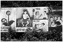 Government educational paintings, near Yen Chau. Northwest Vietnam (black and white)