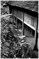 Stilt house detail, in a village near Son La. Northwest Vietnam (black and white)