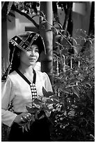 Young Thai woman in traditional dress, Son La. Vietnam ( black and white)