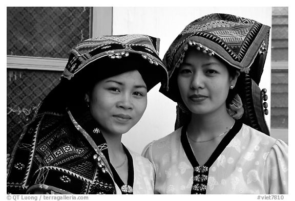 Two thai women in traditional dress, Son La. Northwest Vietnam (black and white)