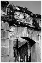 Door of the infamous colonial  prison, Son La. Northwest Vietnam (black and white)
