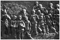 Bas relief celebrating the victims of the French rule, Son La. Northwest Vietnam (black and white)