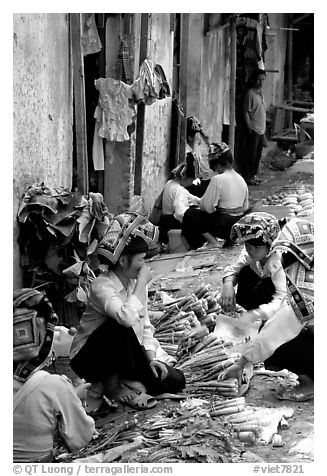 Thai women in the market, Tuan Chau. Northwest Vietnam (black and white)