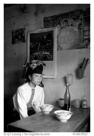 Thai woman in a restaurant, Tuan Chau. Northwest Vietnam (black and white)