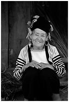 Elderly Dzao ethnic minority women, Tuan Chau. Vietnam (black and white)