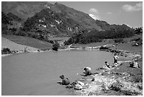 Thai women on the shores of a pond, near Tuan Giao. Northwest Vietnam ( black and white)
