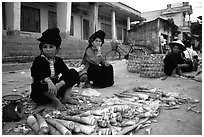 Thai women selling bamboo shoots, Tuan Giao. Northwest Vietnam (black and white)