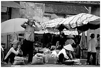 Montagnard women in market, Tam Duong. Northwest Vietnam (black and white)