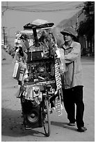Street vendor uses his bicycle as a shop, Tam Duong. Northwest Vietnam (black and white)