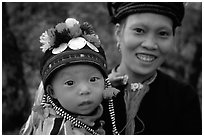 Child and woman of the Black Dzao minority, between Tam Duong and Sapa. Northwest Vietnam (black and white)