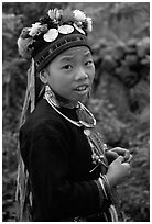 Boy of the Black Dzao minority wearing a hat with three decorative coins, between Tam Duong and Sapa. Vietnam (black and white)