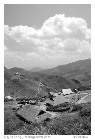 Hamlet near the pass between Son La and Lai Chau. Northwest Vietnam (black and white)