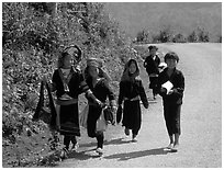 Hmong kids returning from school, near Lai Chau. Northwest Vietnam (black and white)