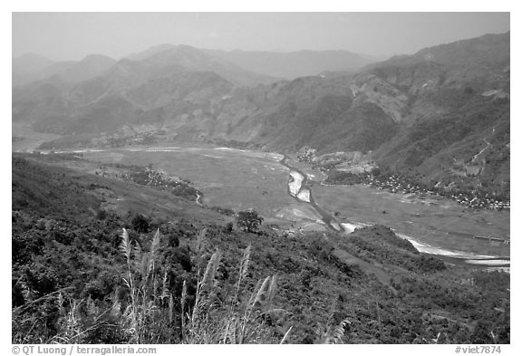 Valley of Lai Chau. Northwest Vietnam (black and white)