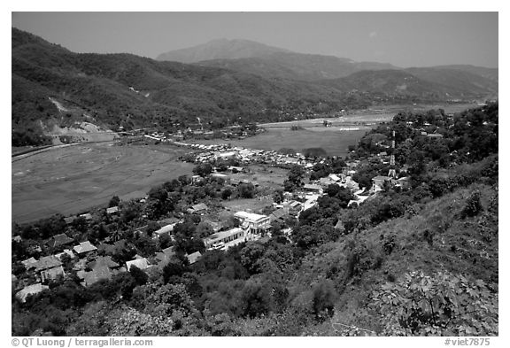 Lai Chau, nested in a valley. Northwest Vietnam (black and white)